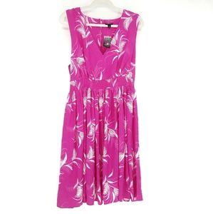Torrid Pink Palm Leaf V-Neck Sleeveless Dress